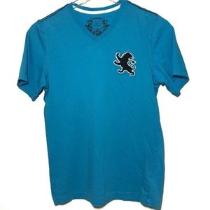 Express Shirts - Express Lion Emblem Blue V-Neck Tee Shirt A000001